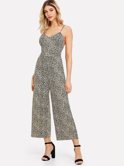 Leopard Backless Wide Leg Jumpsuit
