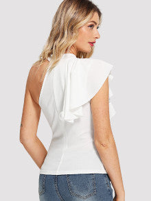 One Side Flounce Trim Top