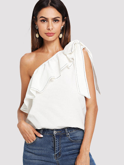 RZX  Ruffle Trim Knotted One Shoulder Top