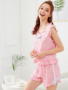 Bow Detail Lace Trim Frilled Polka Dot Top And Shorts PJ Set
