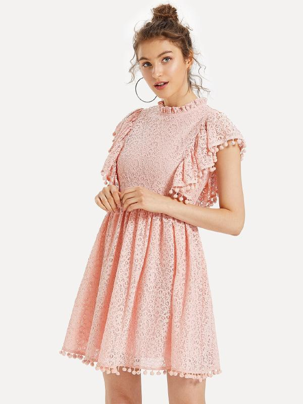 Pom Pom Trim Ruffle Lace Dress