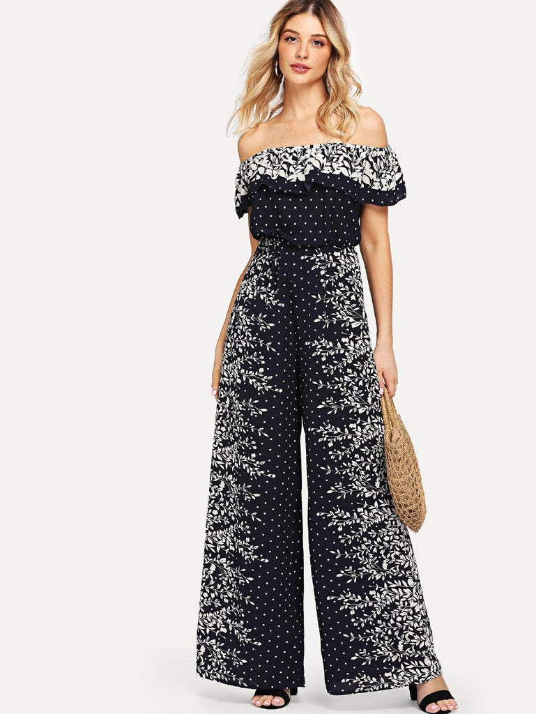RZX  Flounce Off Shoulder Mixed Print Jumpsuit