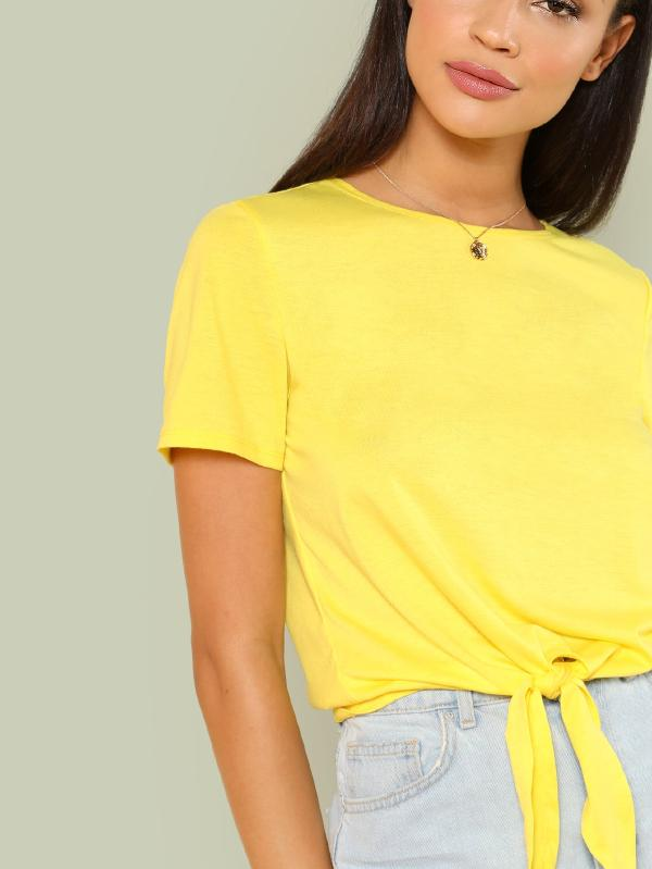 Marled Knit Knotted Hem Tee