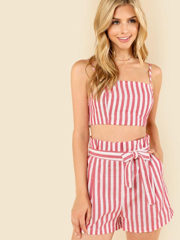 Striped Crop Cami Top & Self Belted Shorts Set