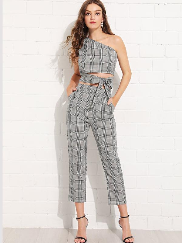 Glen Plaid One Shoulder Knot Top With Pants