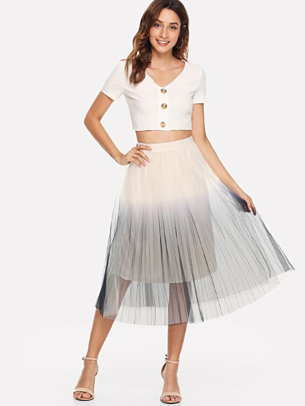 Pleated Ombre Mesh Skirt