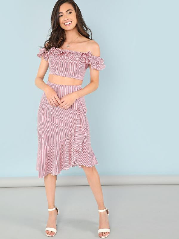 Flounce Layered Neck Pinstripe Top And Skirt Set