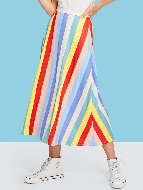 Elastic Waist Colorful Striped Skirt