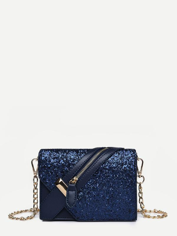 Zipper Front Detail Glitter Chain Bag