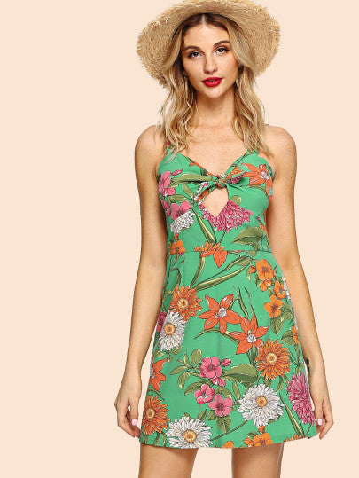 Cutout Knot Front Botanical Dress