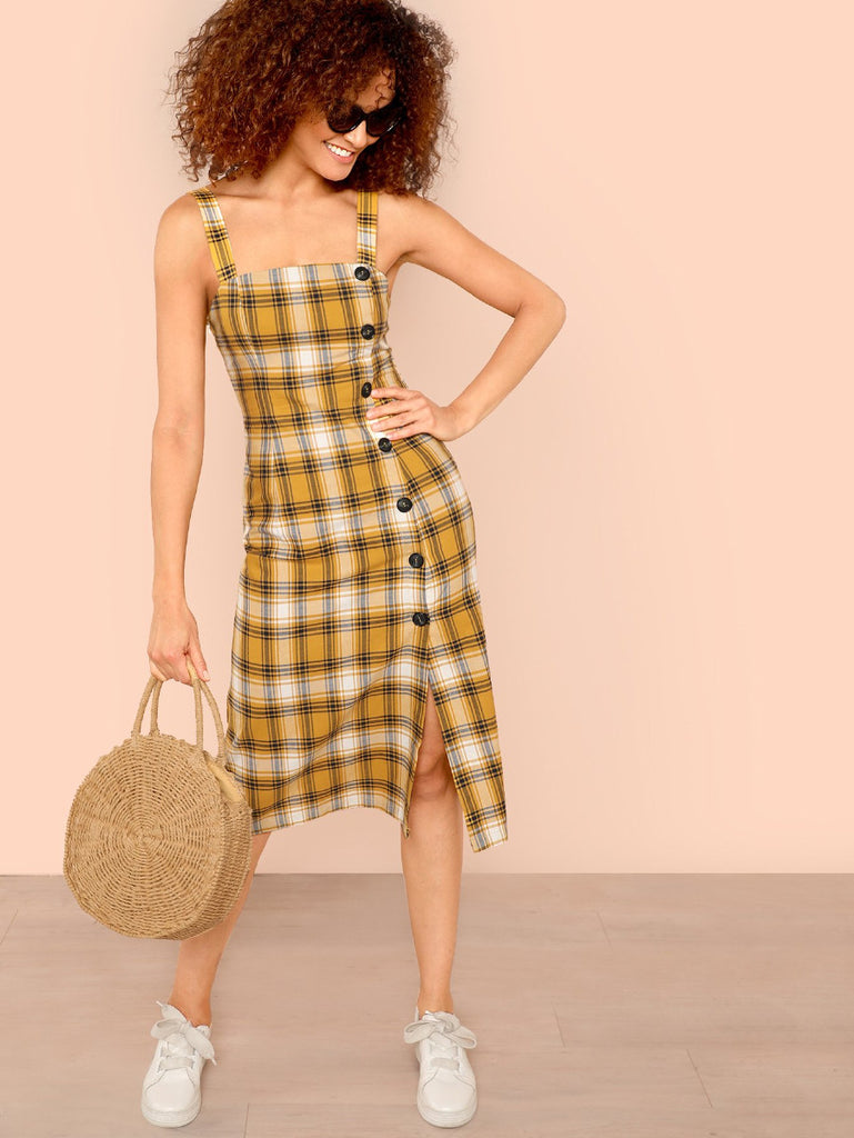 Button Side Slit Hem Plaid Dress
