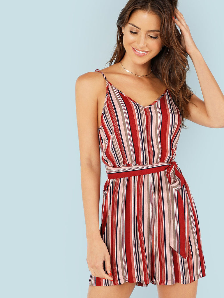 Self Belted Vertical-Striped Cami Romper