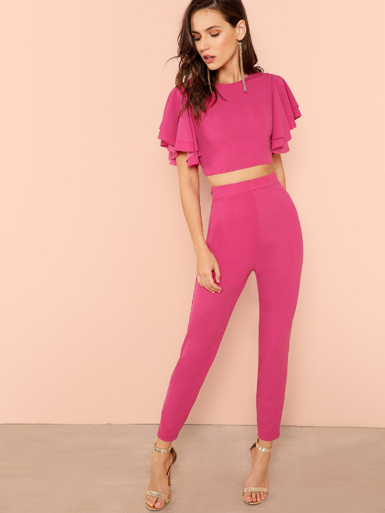 Layered Flutter Sleeve Crop Top And Pants Set