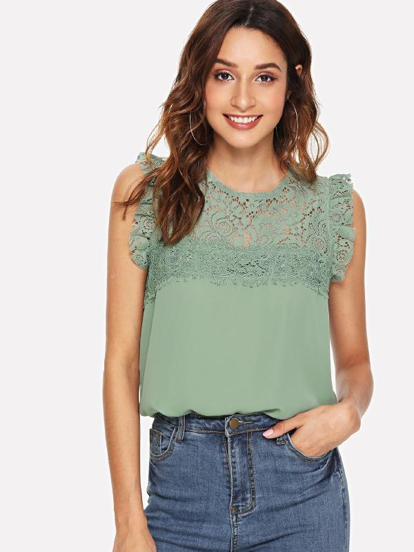 Floral Lace Yoke Frilled Top