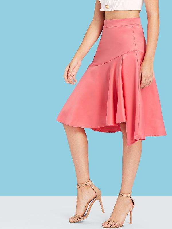 Wide Waistband Asymmetrical Ruffle Hem Skirt