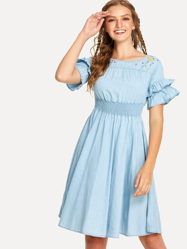 Flounce Sleeve Pleated Denim Dress