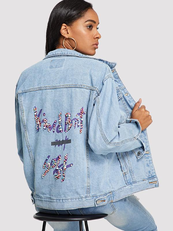 Colorful Pearl Beading Letter Print Jacket
