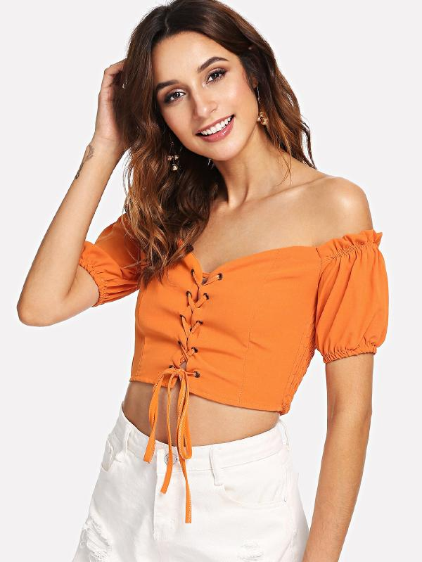Knotted Hem Frill Trim Blouse