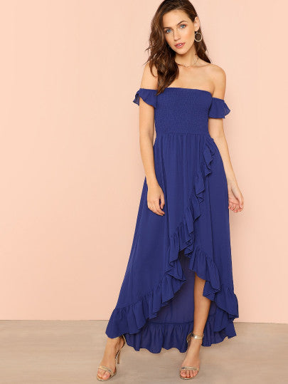 Shirred Panel Asymmetrical Ruffle Hem Wrap Bardot Dress