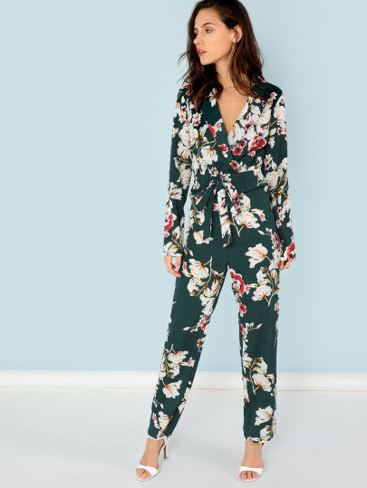 Notch Collar Floral Jumpsuit