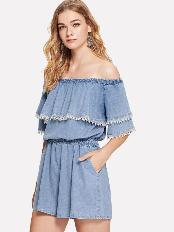 Off-Shoulder Ruffle Pearl Beaded Denim Overalls