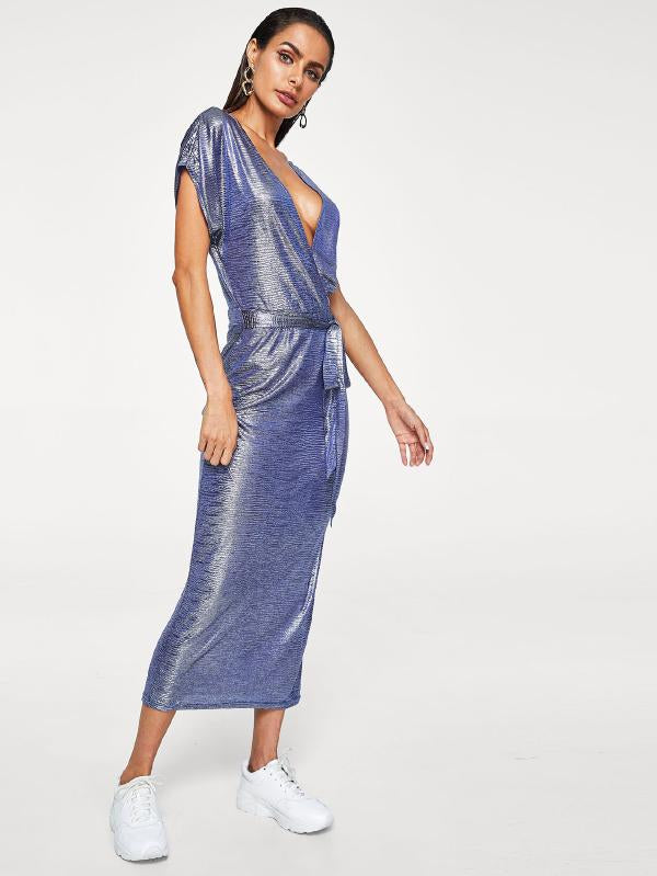 Deep V Neck Metallic Dress