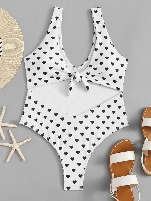 Heart Print Cut-Out Swimsuit