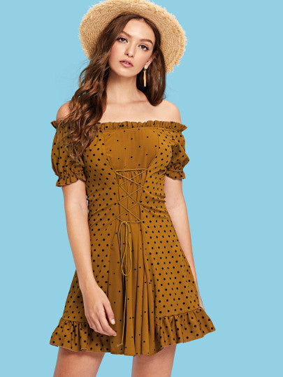 Lace Up Front Polka Dot Bardot Dress