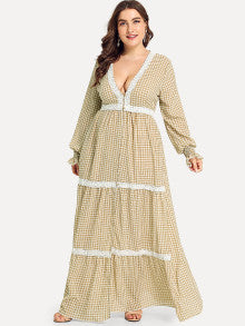 Lace Applique Bishop Sleeve Button Up Gingham Dress