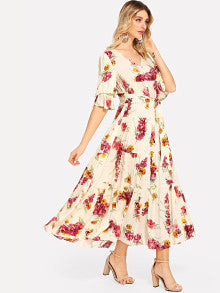 Flounce Sleeve Button Up Floral Dress