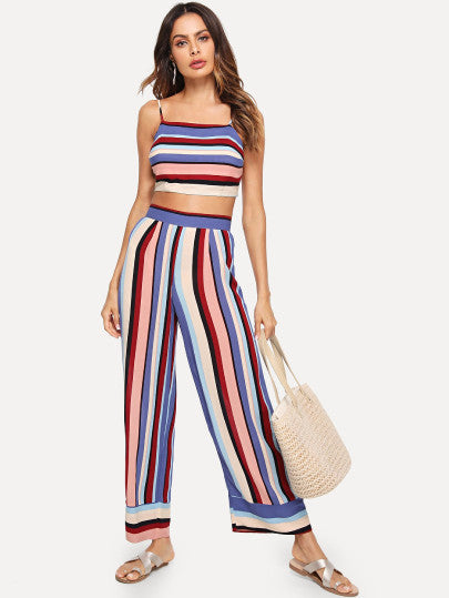 Striped Crop Cami Top And Palazzo Pants Set
