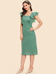 Button Pocket Patched Ruffle Dress