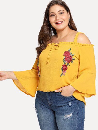 Embroidered Flower Applique Bell Sleeve Cold Shoulder Top