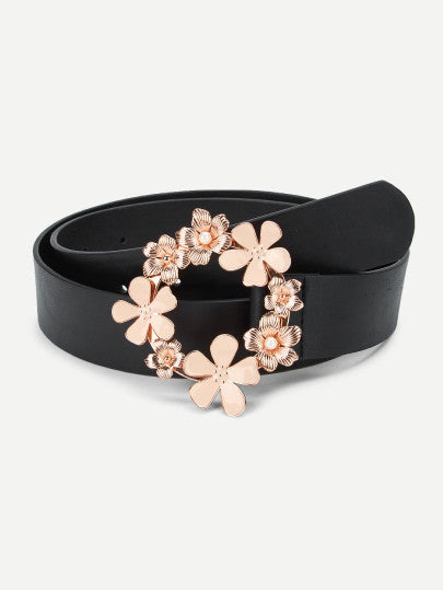 Flower Decorated Circle Buckle Belt