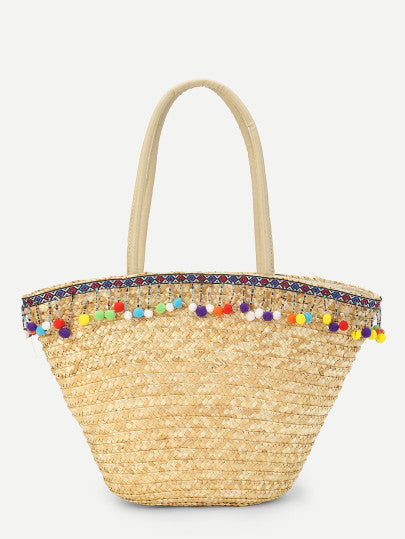 Pom Pom Decorated Straw Shoulder Bag