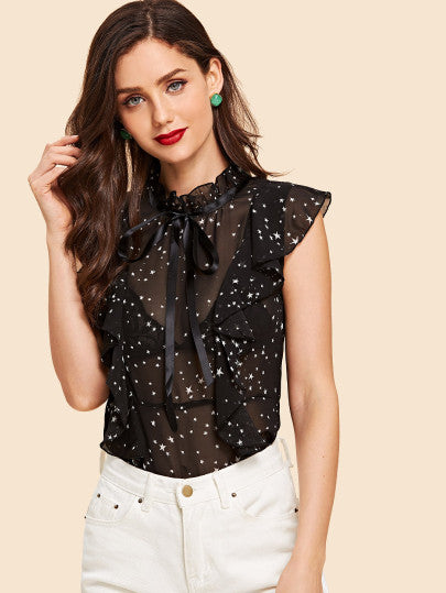 Frill Star Print Sheer Blouse