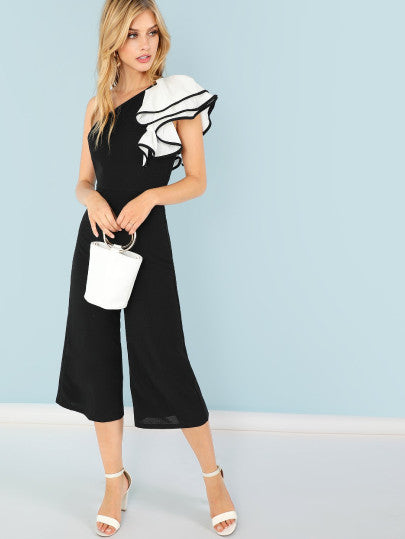 Exaggerate Ruffle Trim One Shoulder Flare Leg Jumpsuit