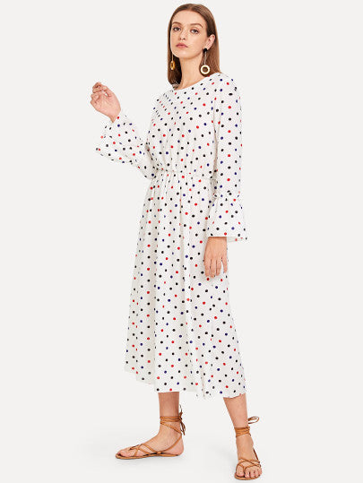 Bow Knot Polka Dot Print Dress