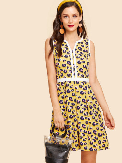 Contrast Trim V Cut Neck Leopard Print Dress