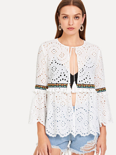 Eyelet Embroidered With Tassel Detail Kimono