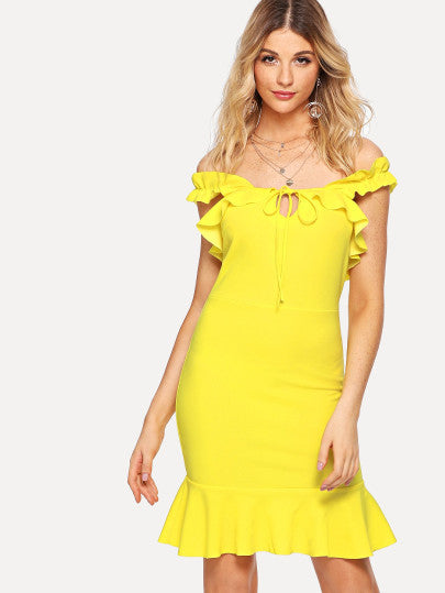 Knotted Ruffle Off Shoulder Fitted Dress