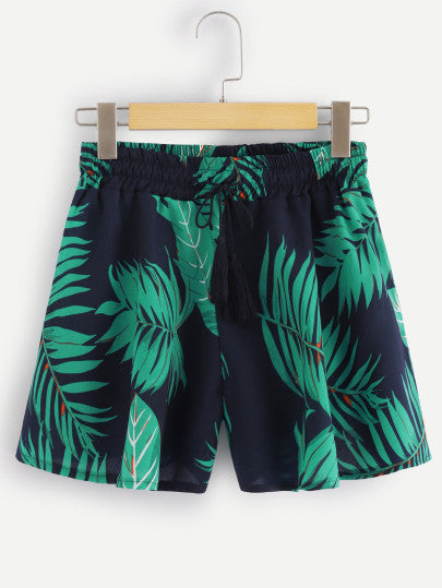 Leaf Print Drawstring Shorts