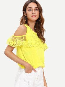 Floral Embroidery Mesh Insert Cold Shoulder Blouse