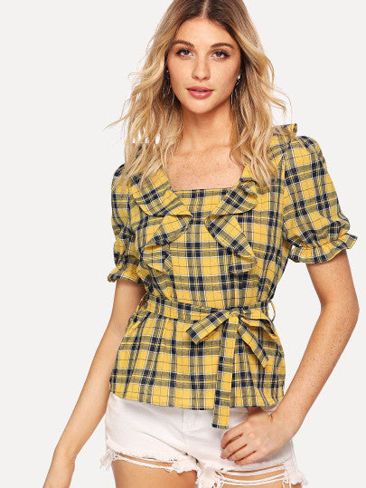 Self Belted Ruffle Embellished Plaid Top