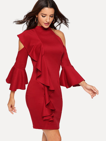 Flounce Sleeve Cold Shoulder Ruffle Trim Dress