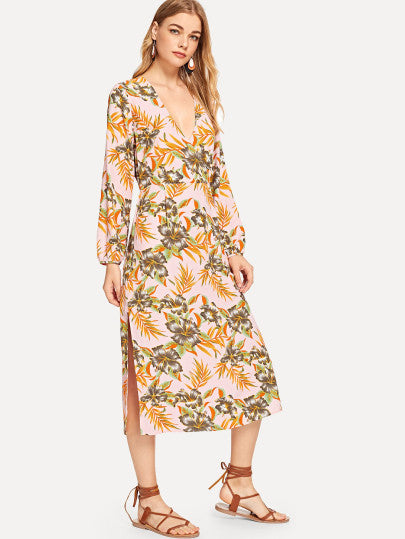 V Neck Jungle Leaf Print Dress