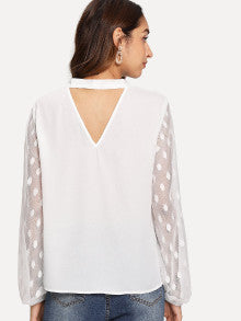 Dot Mesh Sleeve Tie Neck V-Cut Back Top