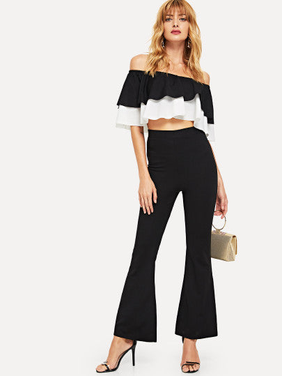 Off Shoulder Crop Top & Flare Leg Pants Set