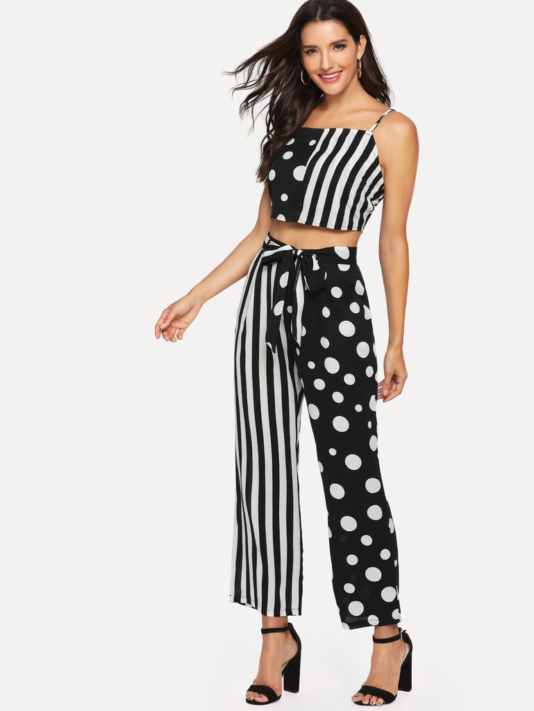 Striped Polka Dot Print Belted Two-Piece Outfit