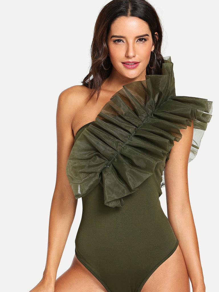 Frill Trim One Shoulder Bodysuit